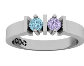 This is a ring with my kids birth stones