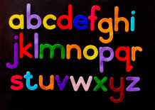 alphabet letter text on black background