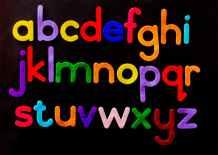 alphabet letter text on black background